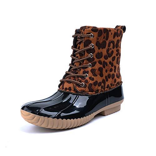 Botas de Agua Nieve Mujer con Cordones Botines Impermeables Lluvia Planos PU & Goma Zapatos Moda Invierno Talón Bloque 2.7 CM Leopardo 35