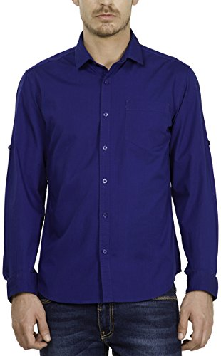 Highlander Men's Casual Shirt (13110001459357_HLSH008866_X-Large_Ink Blue)  available at amazon for Rs.399