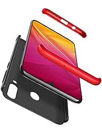 Karomenic 360 Grad Hülle + Panzerglas kompatibel mit Samsung Galaxy A40 Hart PC Schutzhülle 3 in 1 Full Body Rundumschutz Stoßfest Ganzkörper Bumper Handyhülle Hardcase Cover,Rot Schwarz