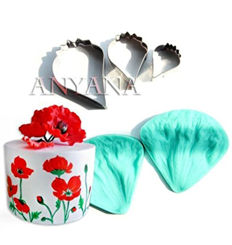 Anyana 2PCS Poppy fondente floreale petali Coquelicot cutter Biscuit Cup cake Decorating Tool silicone Chocolate