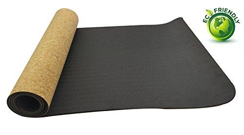 PE + Kork, Rutschfest Umweltfreundlich Pilates Matte für Gymnastik, Fitness, Workout mit Tragetasche und Gurt 4 mm, 5 mm, 6 mm 183 x 61cm (Yoga-matte Bügel)