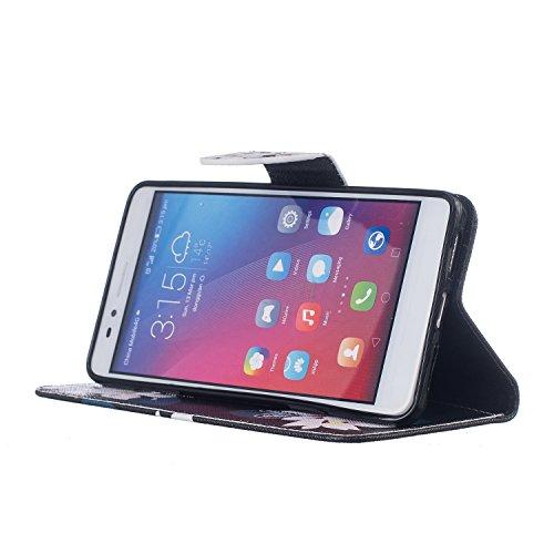 Cozy Hut® Huawei Honor 5X Housse, Ultra-mince Etui En Cuir PU Flip Cassette Intérieur Pour Cartes Pour Huawei Honor 5X New Mode Fine Folio Wallet/Portefeuille + Stand Support + Card Slot + Magnétique  black Lily