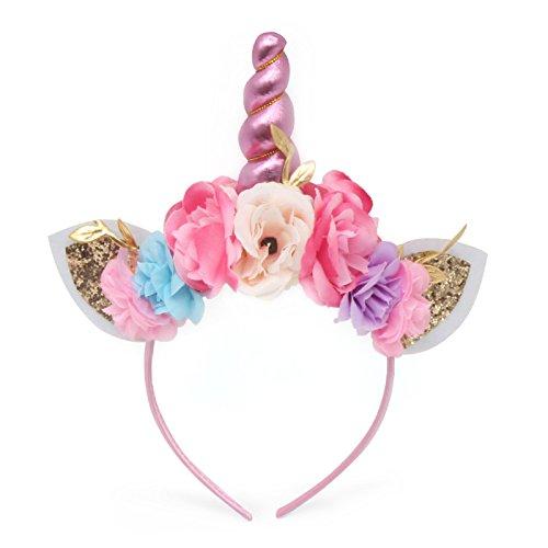 n Einhorn Horn Stirnband Gold Horn Ohren Blume Stirnband Glitter Horn Stirnband Blumen Headwear Zubehör für Cosplay Kostüm Geburtstagsfeier,I ()