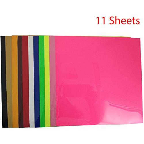 11 Blatt Transferpapier Vinylfolien T-Shirt Folie Transferfolie PU Textilfolie zum Aufbügeln auf Textilien DIY 25.5x25.5cm Mehrfarben