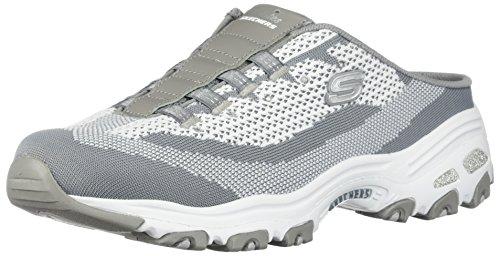 Womens Leaf (Skechers D'Lites A New Leaf Womens Slip on Sneaker Clogs Gray/White 5.5)