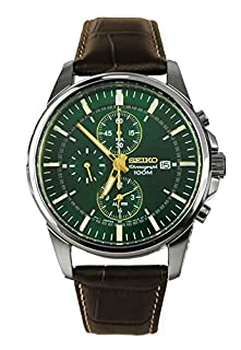 Seiko Men's Chronograph Quartz Watch with Leather Strap SNAF09P1 (B008UY3TFG) | Amazon Products