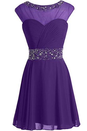 ivyd ressing Femme Ligne A col rond pierres Cocktail robe mousseline Prom robe robe du soir Violet - Violet