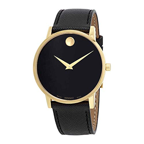 Movado Men's Museum Classic 40mm Black Leather Band Quartz Watch 0607195
