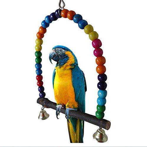 Yunt Haustier Vogel Holz Leiter Klettern Papagei Sittich Wellensittich K?fig H?ngematte Schaukel Spielzeug mit Glocke, zum Aufh?ngen im K?fig(Small)