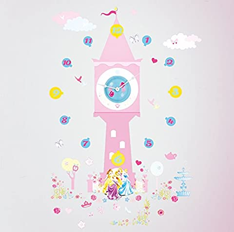 Disney Princess Tell the Time with Me Wall Clock Wall Sticker, Pink