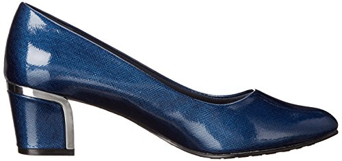 Stile Soft di Hush Puppies pompa Deanna Dress Navy Cross Hatch Patent/Silver Heel
