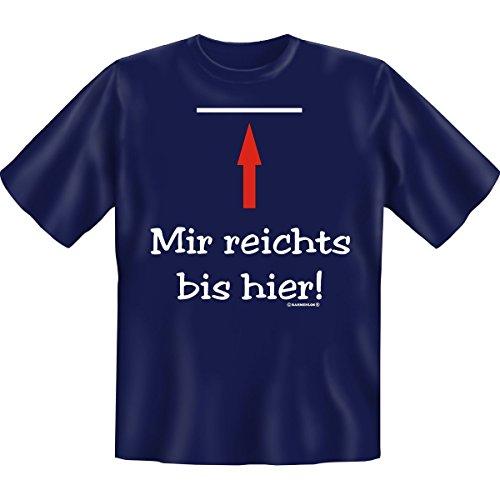 """Mir reichts bis hier! -- witziges Fun T-Shirt zum Thema """"Arbeit"""" :) -- Farbe: schwarz Navy-Blau"""