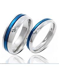 bigsoho Silvery&Blue Titanium Stainless Steel Cubic Zirconia Women/Men Wedding Couple Ring Size J 1/2,L 1/2,N 1/2,P 1/2,R 1/2,T 1/2