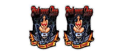 Hot Rod Sexy Pinup Girl Ass on Class Chopper Motorrad Aufkleber Sticker + Gratis Schlüsselringanhänger aus Kokosnuss-Schale + Oldschool Rockabilly 1% MC Outlaw Rockabella Bike Helm Bobber Tuning