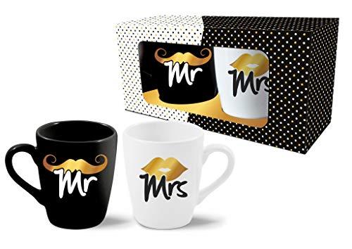 Abc Casa Tassen Geschenk Set Mr und Mrs - romantische Paare Geschenke zum Hochzeitstag, Valentinstag, Weihnachten, Jahrestag, Hochzeit, Geburtstag - eine praktische Geschenkidee, Becher 300 ml