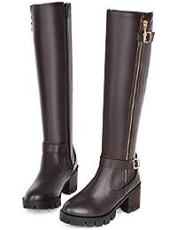 MS sencillez cinturón hebilla botas de largo, marrón, 37