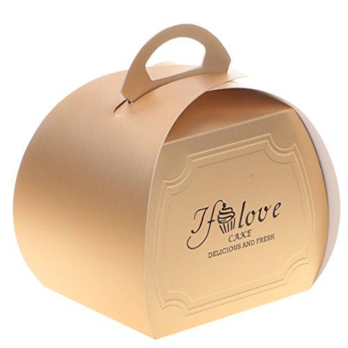 achteln Verpackung Papier Box Geschenk Cupcake Kuchen Cookies Bäckerei Verpackung mit Griff - Rose Gold, 8 x 9 x 8,5 cm ()
