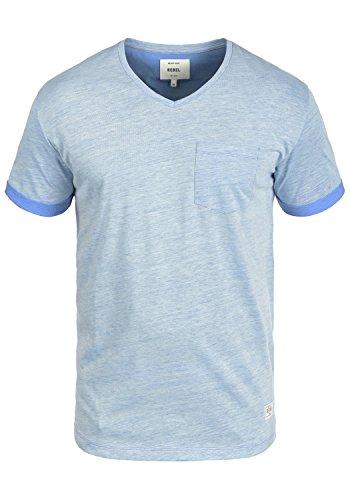 Baumwolle Tipped Pullover Mit V-ausschnitt (Redefined Rebel Moses Herren T-Shirt Kurzarm Shirt Mit V-Ausschnitt, Größe:M, Farbe:Blue)