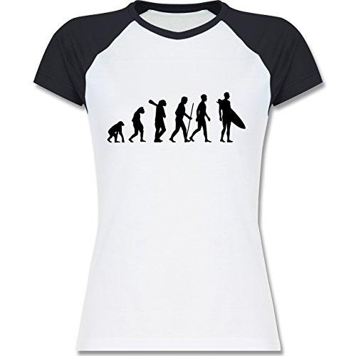 Evolution - Surfer Evolution - zweifarbiges Baseballshirt / Raglan T-Shirt für Damen Weiß/Navy Blau