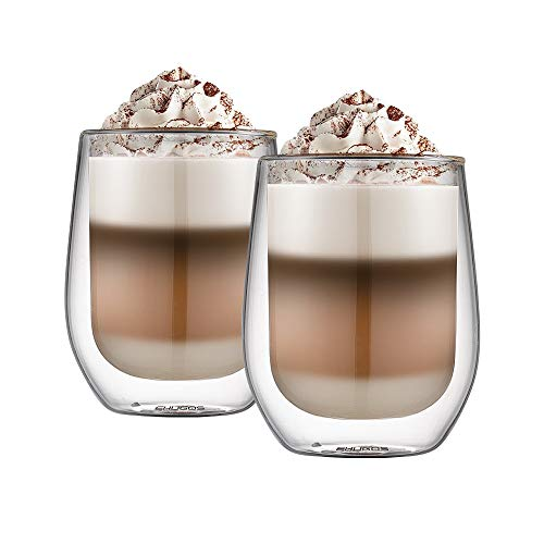Ehugos Doppelwandige Cappuccino Tassen Glaser Latte Macchiato Glaser Set Thermoglas Trinkgläser Kaffeeglas 2-teiliges (300 mL)