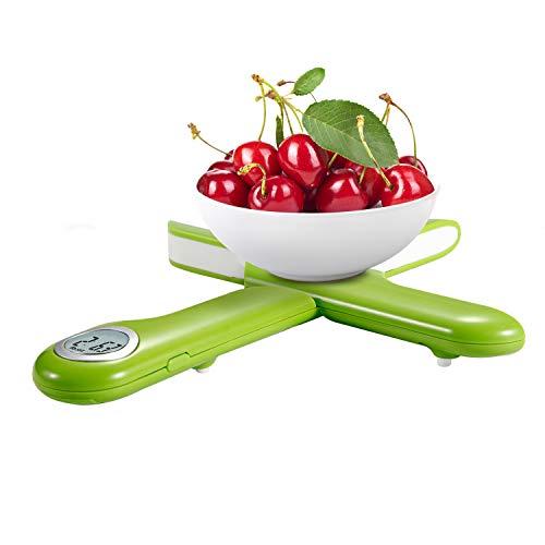 Camry Báscula Digital de Cocina Plegable, Mini Balanza para Alimentos, Escala para Pesar Comida, Peso de Cocina con Pantalla LCD, hasta 5Kg de Peso, Función de Auto-Apagado y Tara(Verde)