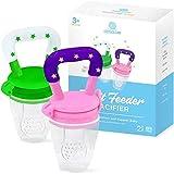Fruchtsauger Baby/Fruchtschnuller Baby(2er Pack) - Für frisches Obst und Gemüse (Set grün und pink) Baby Set Zahnungshilfe & Obstsauger