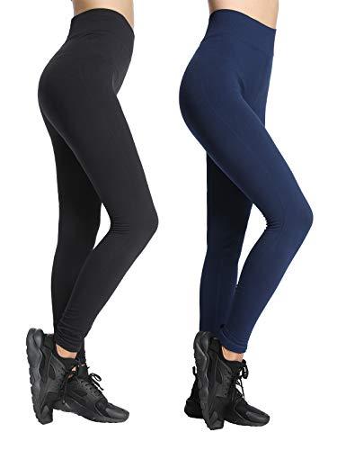 iloveSIA 2X Leggings mädchen Sport Schwarz+Dunkelblau Sportswear Hose Frauen Running Pants bequem S