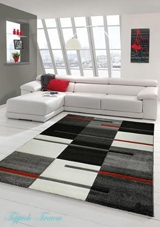 salon designer tapis contemporain tapis moquette avec contour motif diamant rouge gris noir et blanc gre 80 x 300 cm amazonfr cuisine maison