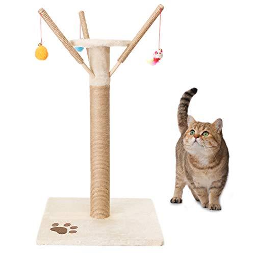 EXPAWLORER Kratzbaum Sisal, 40 x 40 x 60 cm, mit 3 interaktiven Spielzeugen