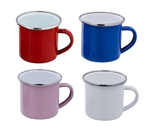 teamfar Espresso Tassen, Emaille Espressotassen-Set of 4, Multi Farben (blau/rosa/weiß/rot)–5Unze (150ml) (Boot Schokolade Kids)