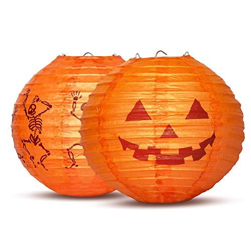 UNEEDE 2 Stück Halloween Deko Laterne 20cm LED 3D Papier Lampions Kürbis Skelett Chinesische Laternen Led Lampions für Halloween Deko Innen und Außen Party Garten Dekoration,Batterien sind ()