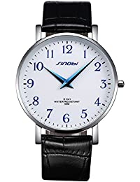 Relojes Hermosos, SINOBI 4103 clásico Concise numerales árabe Dial Quartz 5ATM impermeable reloj con banda de cuero genuino para hombres