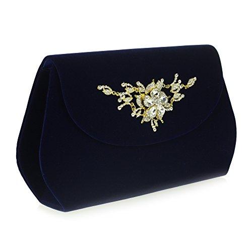 Frau Damen Abend Hochzeit Braut Party Abschlussball Glatt Umschlag Kristall Diamant Handtasche Unterarmtasche Blau