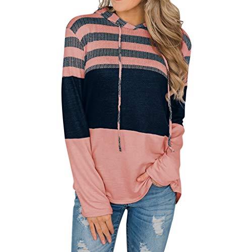 RYTEJFES Damen Sweatshirts Langarmshirts Tops Beiläufige Hoodies der Frauen Farbblock Drawstring Plus Size Pullover Hoodies Farbblock Oberteile (Rosa, M) -