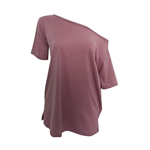 Shujin Damen Sommer Reizvolle Kurzarm Schulterfrei T-Shirt Loose Fit Einfarbig Off Shoulder Oberteile Casual Tunika Blusen Tops