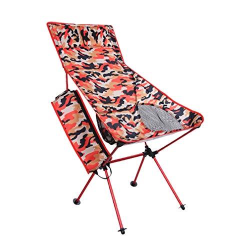 Bigood Chaise Pliante Camping Pique-Nique Pêcher Tabourets Fauteuil Portable Rouge
