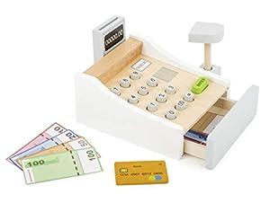 Small Foot Company Caja registradora de Madera, Incl. escáner, Lector Juego y Tarjetas de crédito, formación en el manejo de Dinero y Precios, auténtica diversión de Compras para Grandes y pequeños a Partir de los 3 años. Juguetes, Multicolor (Small Foot by Legler 11099)