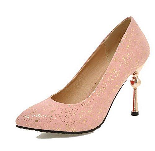 VogueZone009 Femme Stylet Dépolissement Couleur Unie Tire Pointu Chaussures Légeres Rose