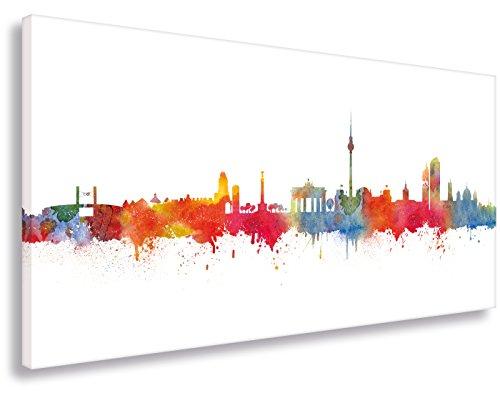 Leinwandbild von Kunstbruder / Wandbild Kunstdruck auf Leinwand / Berlin Skyline Stadt WEISS by DiChyk (div. Größen) - Kunst Druck auf Leinwand - Bild fertig auf Keilrahmen ! Graffiti like Banksy Art Gemälde Kunst Bilder (40x80cm)
