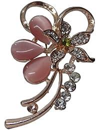 Woap Gold Polish Pink Color Crystal Stone Designer Brooch