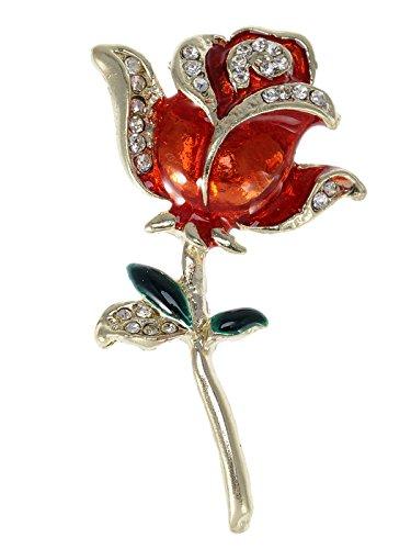 Amazon Alilang oro tono Crystal Rhinestone pintado a mano solo vástago rojo amor rosa broche Pin