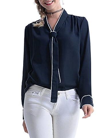 Abollria Damen Elegant Bluse Chiffon Langarm Tunika Blouse V Ausschnitt Kragen mit Schleife