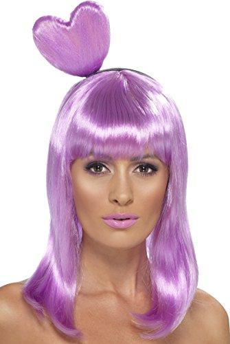 (Smiffys Damen Candy Queen Perücke mit Herz Haarreif, One Size, Flieder, 42077)
