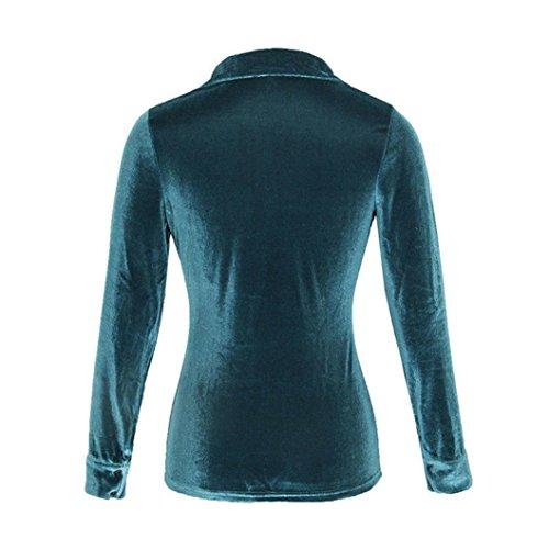 Bonjouree Chemisier Chic Femme Chemise Noir en Velours T-Shirt Manches Longues Bleu