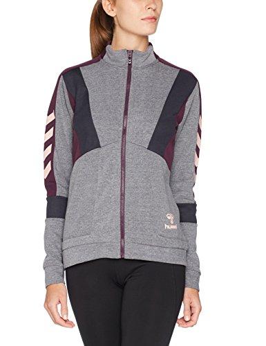 Hummel Sweatjacke Damen Grau, Anthrazit oder Blau - CLASSIC BEE MERKUR ZIP JACKET - Trainingsjacke mit Kragen - Sweatshirt Jacke für Sport, Freizeit & Fitness, Grey Melange, S