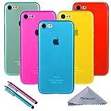Wisdompro iPhone 7 Hülle, iPhone 8 Hülle, 5 Stück Bündel von Jelly Bunt Weiche TPU Gel Schutzhülle für Apple iPhone 7, iPhone 8, 5-Color Transparent