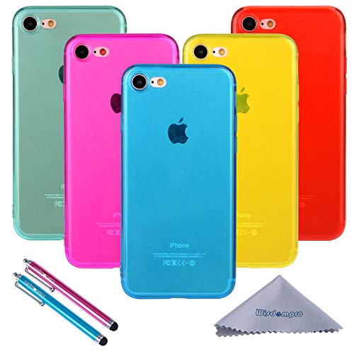 iPhone 7custodia, iPhone 8case, Wisdompro 5Pack Bundle of Jelly colorato morbido TPU gel custodia cover per Apple iPhone 7, iPhone 8 5-Color Transparent