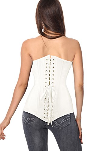 Charmian Women's Spiral Steel Boned Overbust Long Torso Body Shaper Corset Weiß