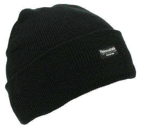 Unisex Plain negro Thinsulate gorro de lana w11121