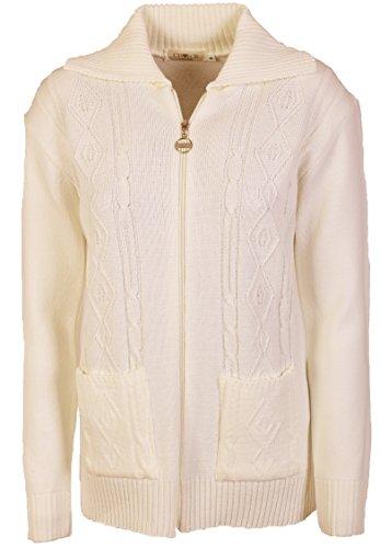 Maglione da donna lavorato a maglia, a maniche lunghe, con chiusura a cerniera, stile classico, taglia: 40-52 Cream